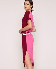 """Двухцветное трикотажное платье с поясом Двухцветный Красный """"Пурпурный"""" / Супер-розовый женщина 201ST3030-04"""