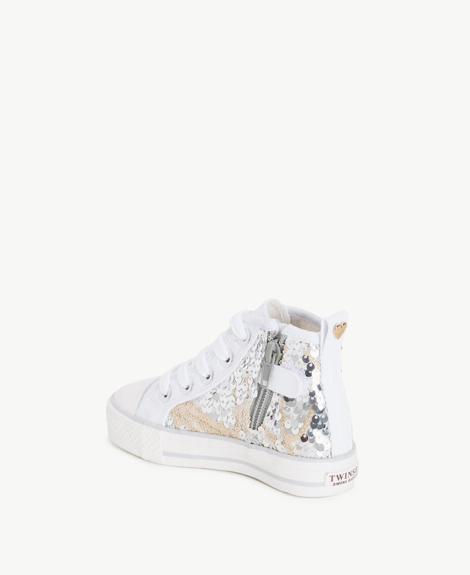 Sequin sneakers Silver Child HS86C1-03