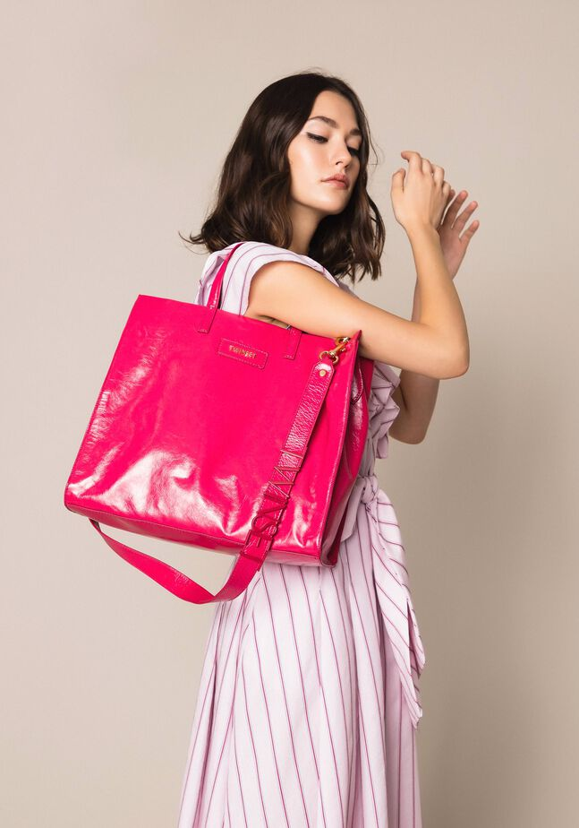 Large leather shopper with logo