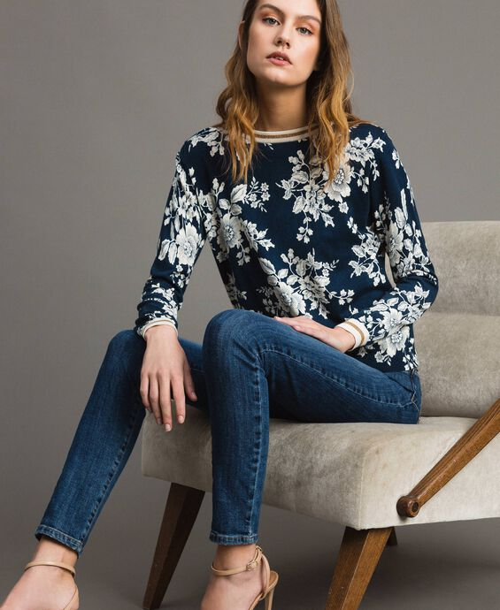 Floral print and lurex jumper-cardigan