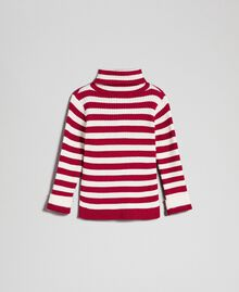 Ribbed mock turtleneck with two-tone stripes Ruby Wine Striped Jacquard / Oat Child 192GB3170-0S
