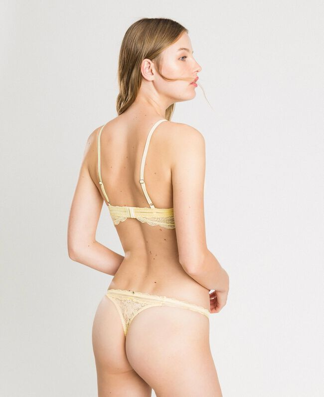 "Stringtanga aus Spitze ""Daisy Yellow"" Gelb Frau 191LL6B88-03"