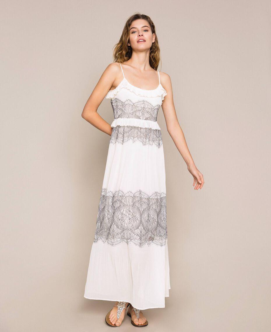 Длинное плиссированное платье с двухцветным кружевом Белый Снег женщина 201TT2143-02