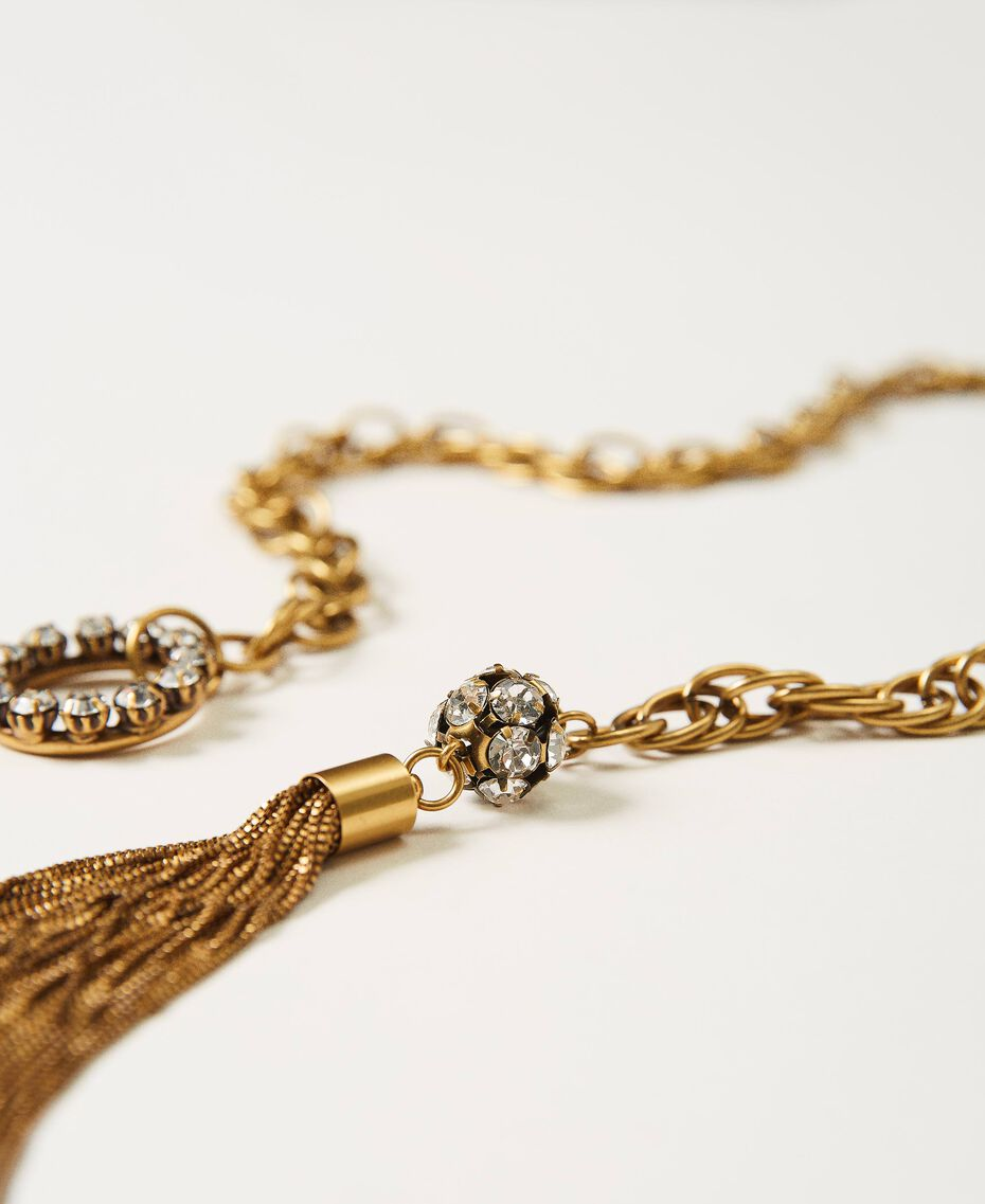 """Chain necklace with bezels """"Aged Coppery Brass"""" Gold Woman 211TO501A-02"""