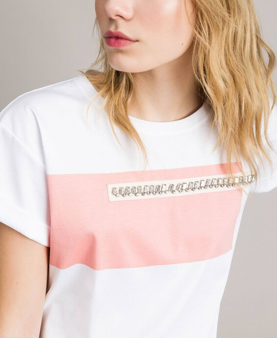 Printed and embroidered T-shirt