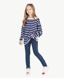 "Striped maxi pullover Ocean Blue / ""Papyrus"" White Stripes / Flower Print Child GS83BA-06"