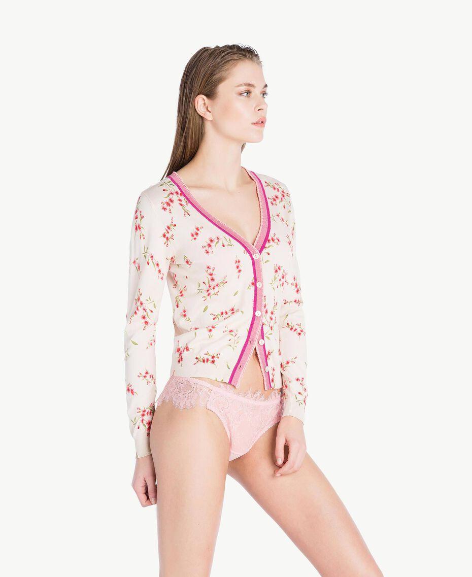 "Printed cardigan ""Peach Powder"" Pink Microflower Print Woman LS8BTT-03"