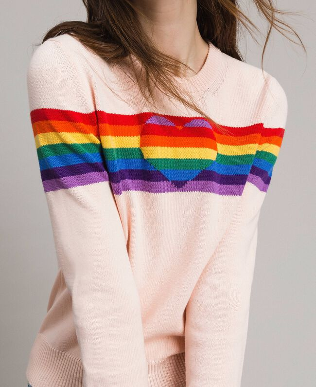 Multicolour stripes and inlay heart top Bud Pink Woman 191TP3011-04