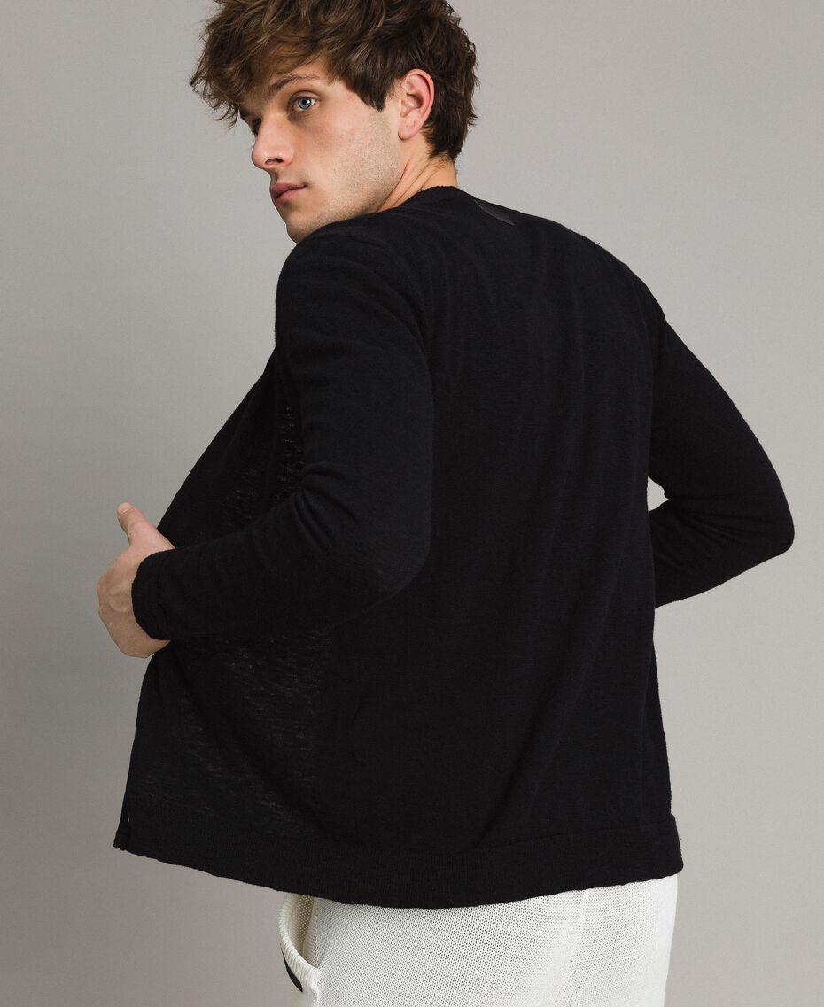 Cotton blend slub cardigan