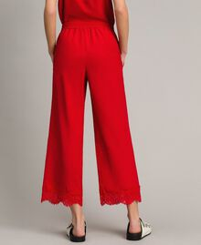 Crêpe de Chine trousers with lace Poppy Red Woman 191ST2067-03
