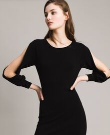 Sheath dress with slits Black Woman 191TP3291-01
