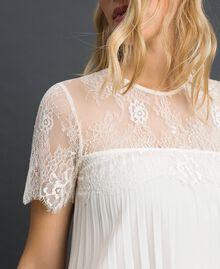 Blouse en crêpe de Chine plissé et dentelle Blanc Neige Femme 192TT2490-01