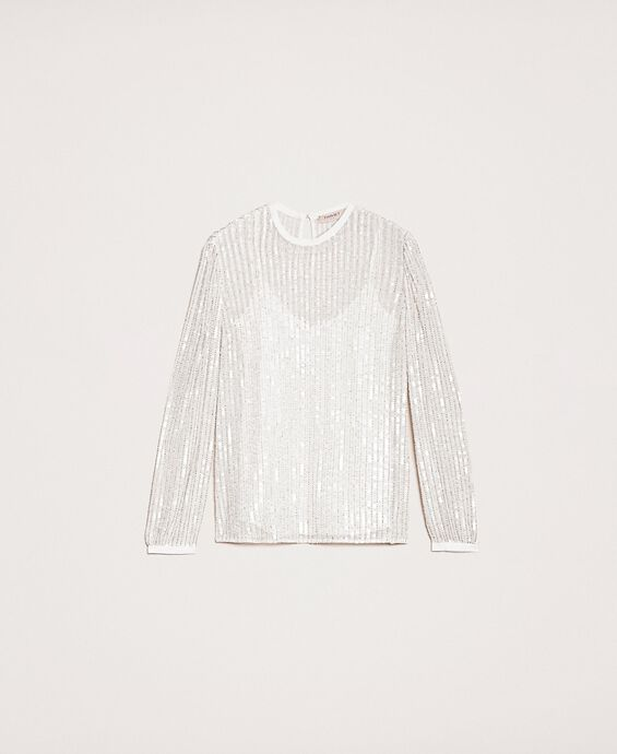 Blusa in tulle e full paillettes