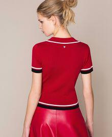 """Maglia a polo con profili a contrasto Multicolor Rosso """"Veneziano"""" / Vaniglia / Nero Donna 201MP3052-04"""