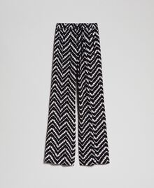 "Floral and chevron print palazzo trousers Black / ""Snow"" Chevron Print Woman 192TP252C-0S"