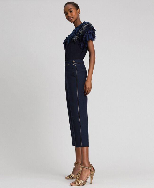 Cigarette trousers in technical wool Midnight Blue Woman 192TT2458-01