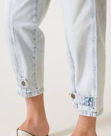 "Cargo jeans with frog fasteners Embroidered ""Beach"" Blue Woman 211TT243B-06"