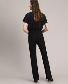 Pantalon en toile naturelle Noir Femme 191TT2295-03