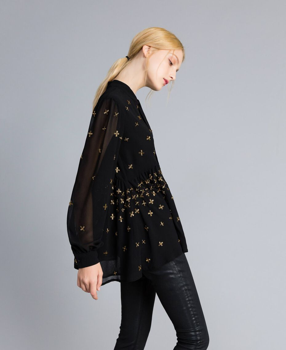 Embroidered georgette blouse Black Woman TA826B-02