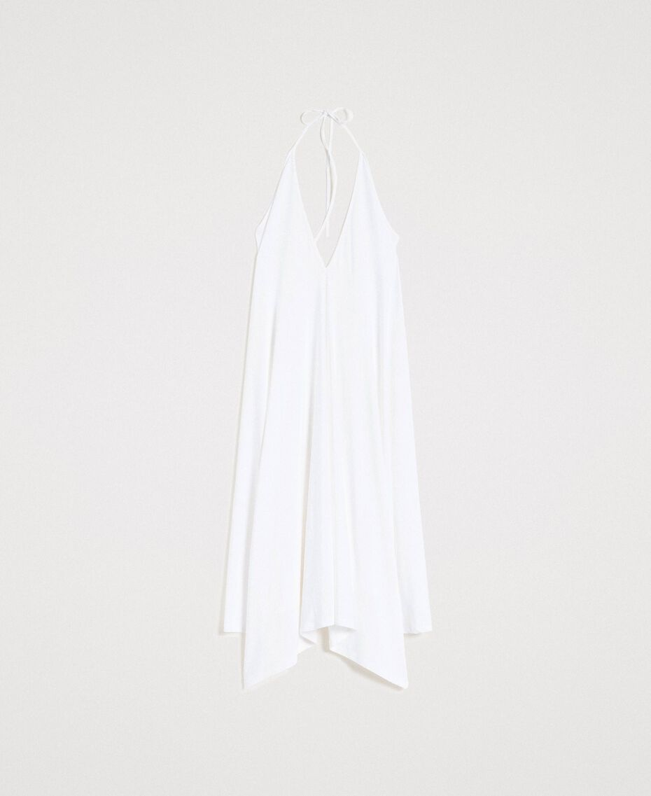 Asymmetrisches Kleid aus Kreppjersey Weiß Frau 191LB22QQ-0S