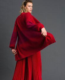 "Maxi cardigan with lurex band and brooch ""Samba"" Red Striped/ Purple Woman 192ST3081-03"