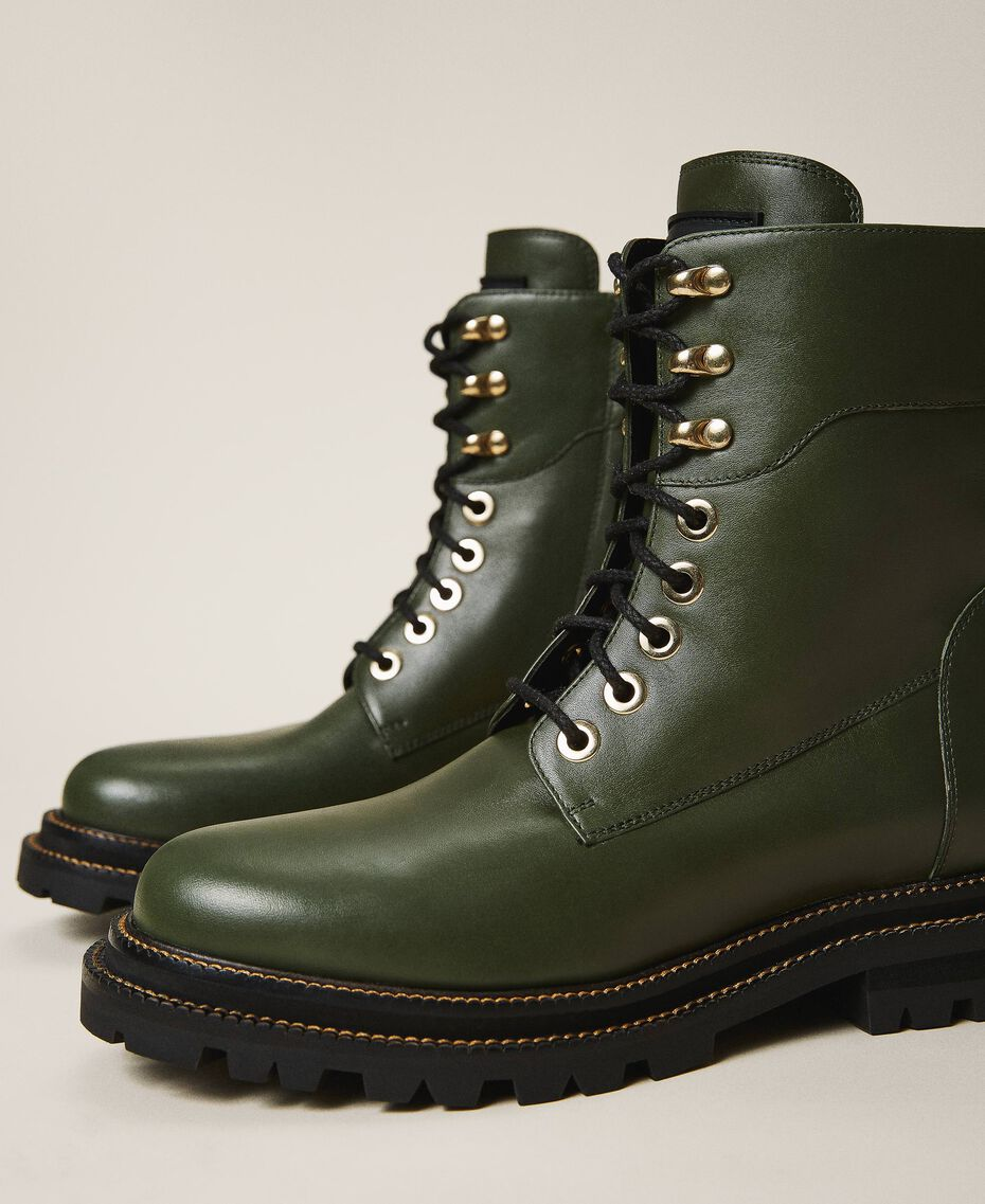 Tie-up leather combat boots Black Woman 202TCP182-03