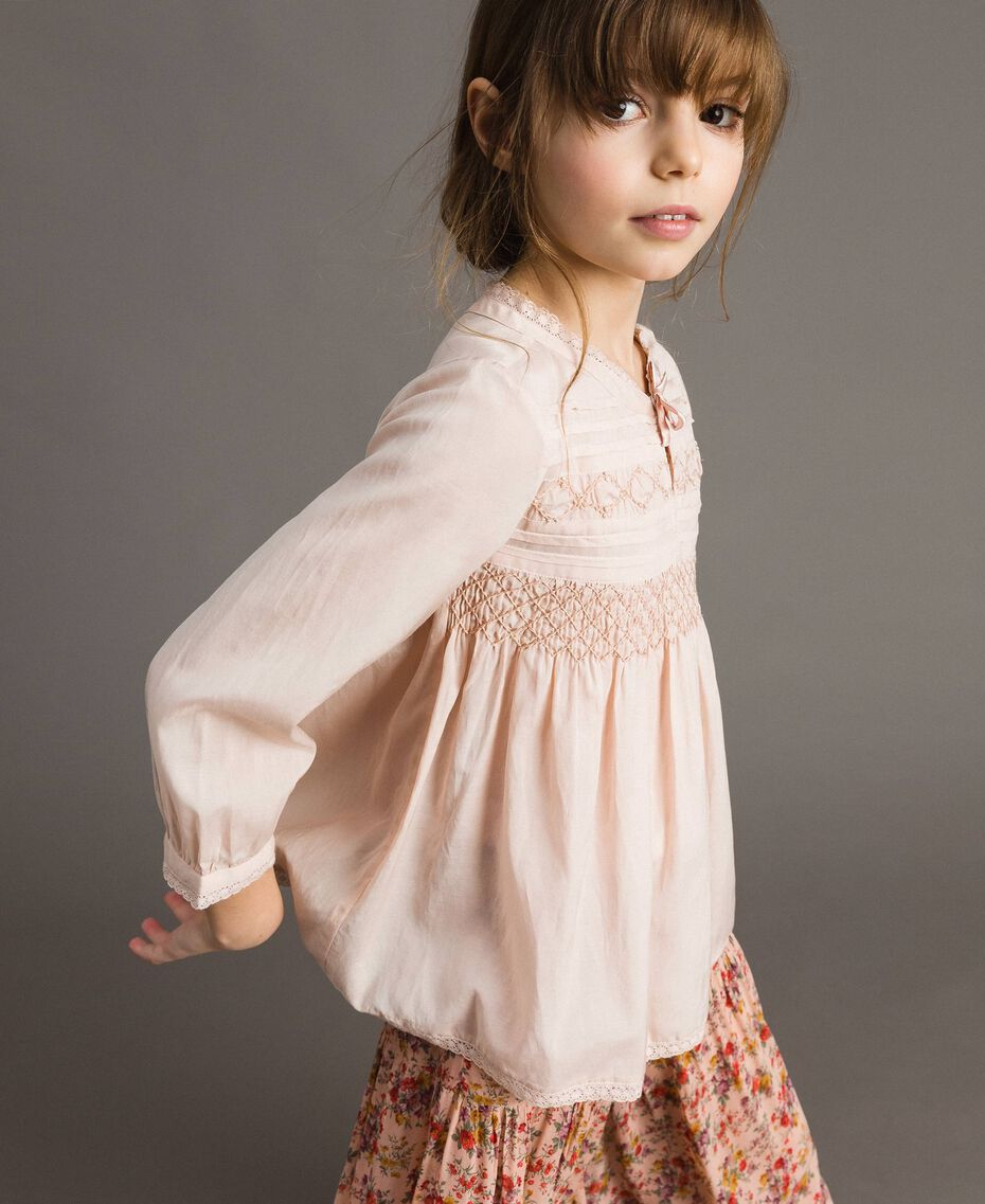 Cotton voile blouse with embroidery Blossom Pink Child 191GJ2350-02
