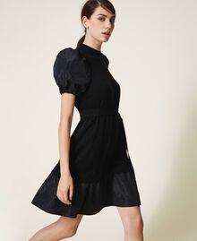 Robe en laine mélangée et taffetas Noir Femme 202TP3251-01