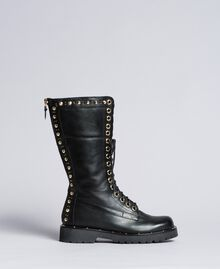 Leather combat boots with rivets and studs Black Woman CA8PLY-01