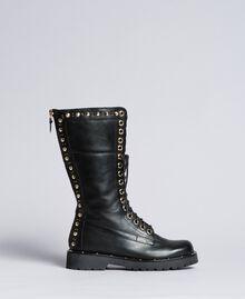 Boots en cuir avec rivets et clous Noir Femme CA8PLY-01
