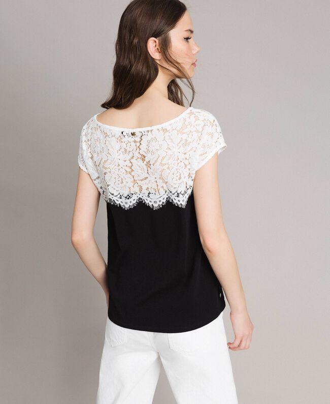 T-shirt a pois con pizzo Bicolore White / Nero Donna 191MP2064-03
