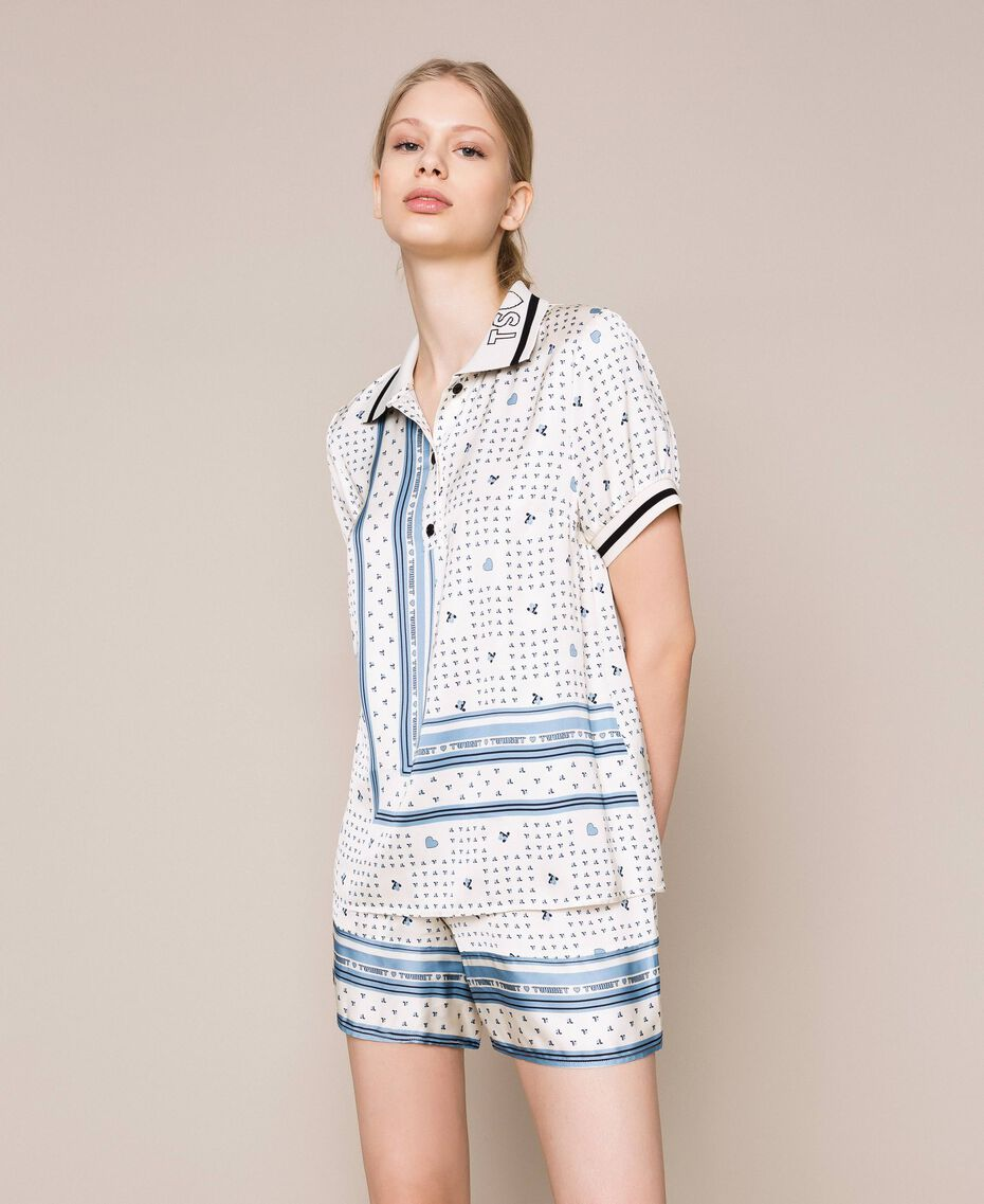 "Short satin pyjamas with logo print Two-tone ""Waterfall"" Blue / Black Woman 201LL28BB-01"