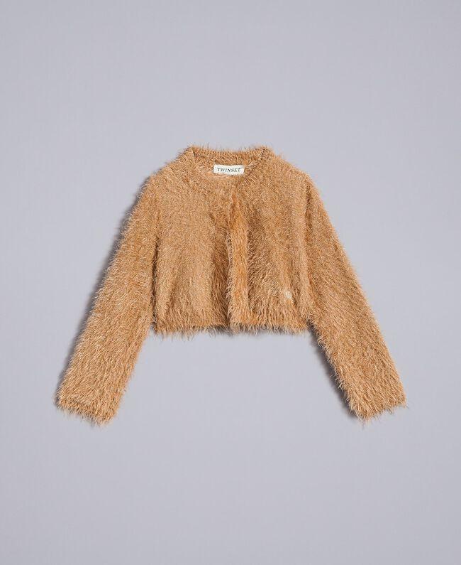 "Fur stitch shrug ""Caramel"" Brown Child FA83D2-01"