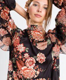 Robe en twill avec imprimé floral Imprimé Noir Fleur Femme LA8KSS-04