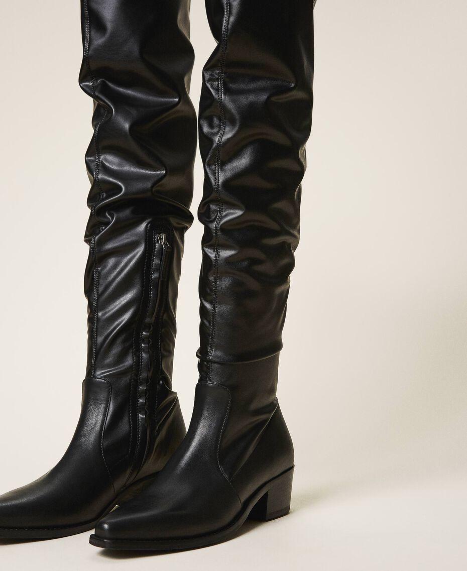 Cапоги-ботфорты с голенищем из ткани-стрейч Черный женщина 202TCP170-02