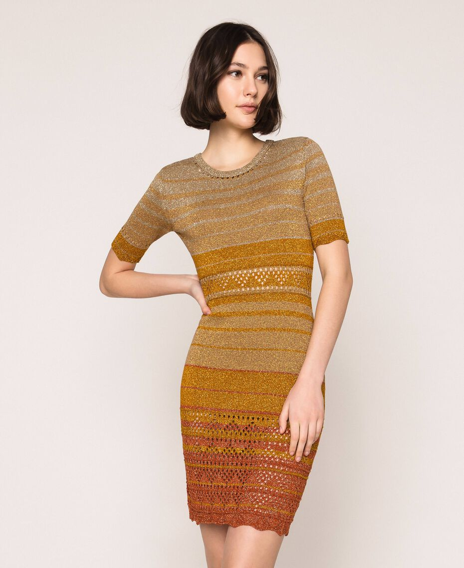 Striped lurex yarn dress Multicolour Gold Stripes Woman 201TT3090-01