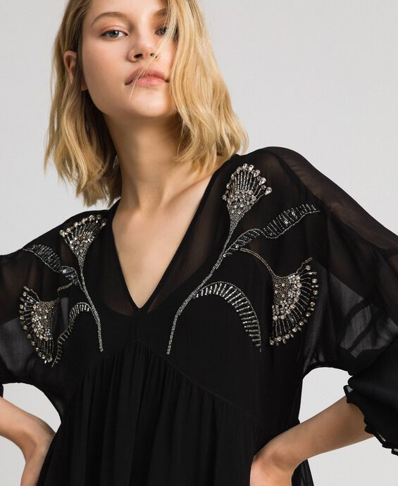 Blouse with floral rhinestone and sequin embroidery