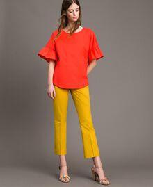 Poplin flounce blouse White Woman 191TT224D-0T