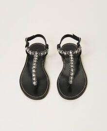 Sandales plates avec chatons et strass Noir Femme 211TCT044-05