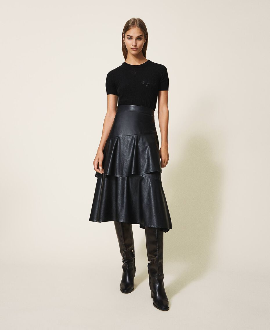 Faux leather midi skirt with flounce Black Woman 202ST2016-01