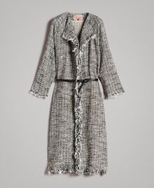 """Fringed tweed duster coat Two-tone """"Snow"""" White Bouclé / Black Woman 191TP2521-0S"""