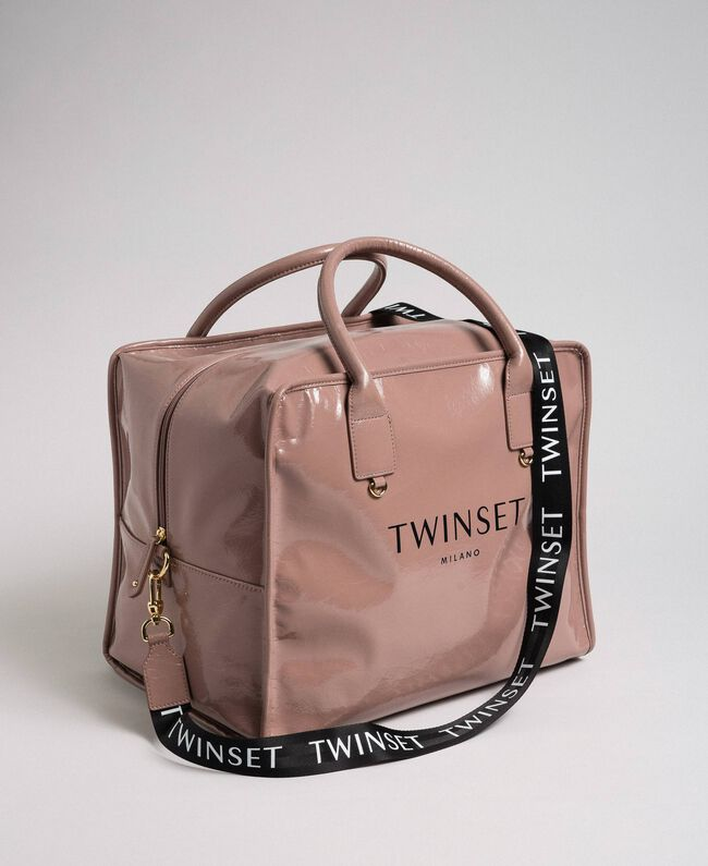 Faux patent leather weekend bag Dusty Pink Woman 192TA7172-01