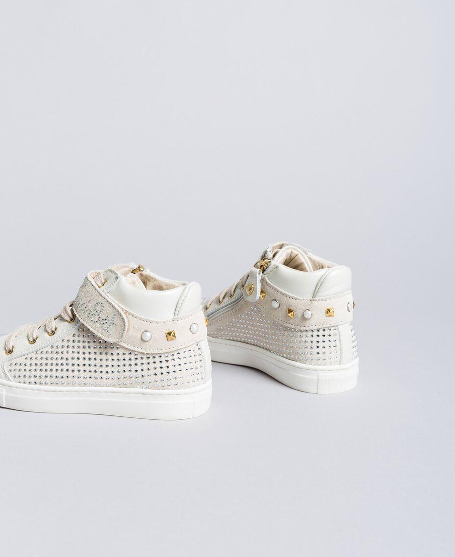Sneakers aus Leder und Strass Mattweiß Kind HA86DA-03