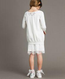 Cardigan aus Baumwolle mit Spitze Mattweiß Kind 191GJ3021-03