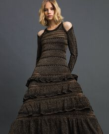 Lurex knit long dress with flounces Black Striped / Lurex Woman 192TT3220-05