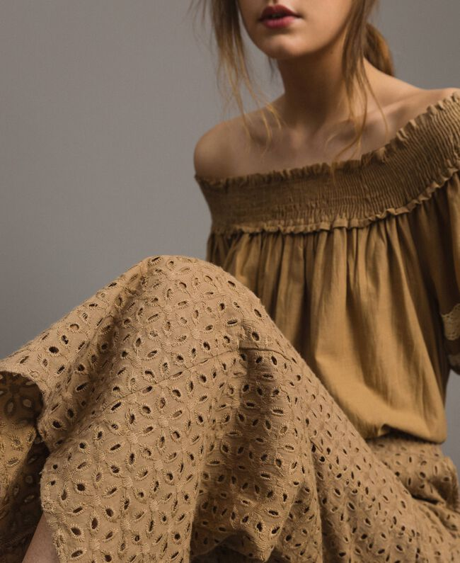 """Voile trousers with broderie anglaise embroidery """"Savannah"""" Beige Woman 191ST2115-01"""