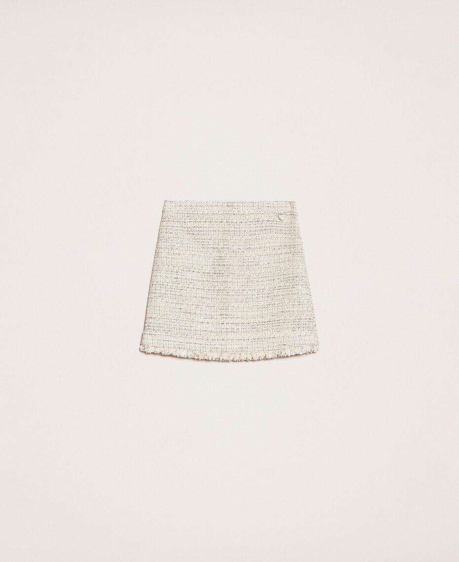 Bouclé fabric short skirt Multicolour Ivory / Silver Grey Woman 201TP2245-0S