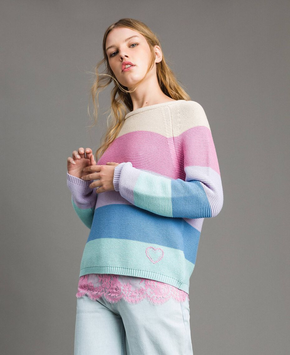 Striped top with heart detail Multicolour Pastel Colour Woman 191MP3011-02