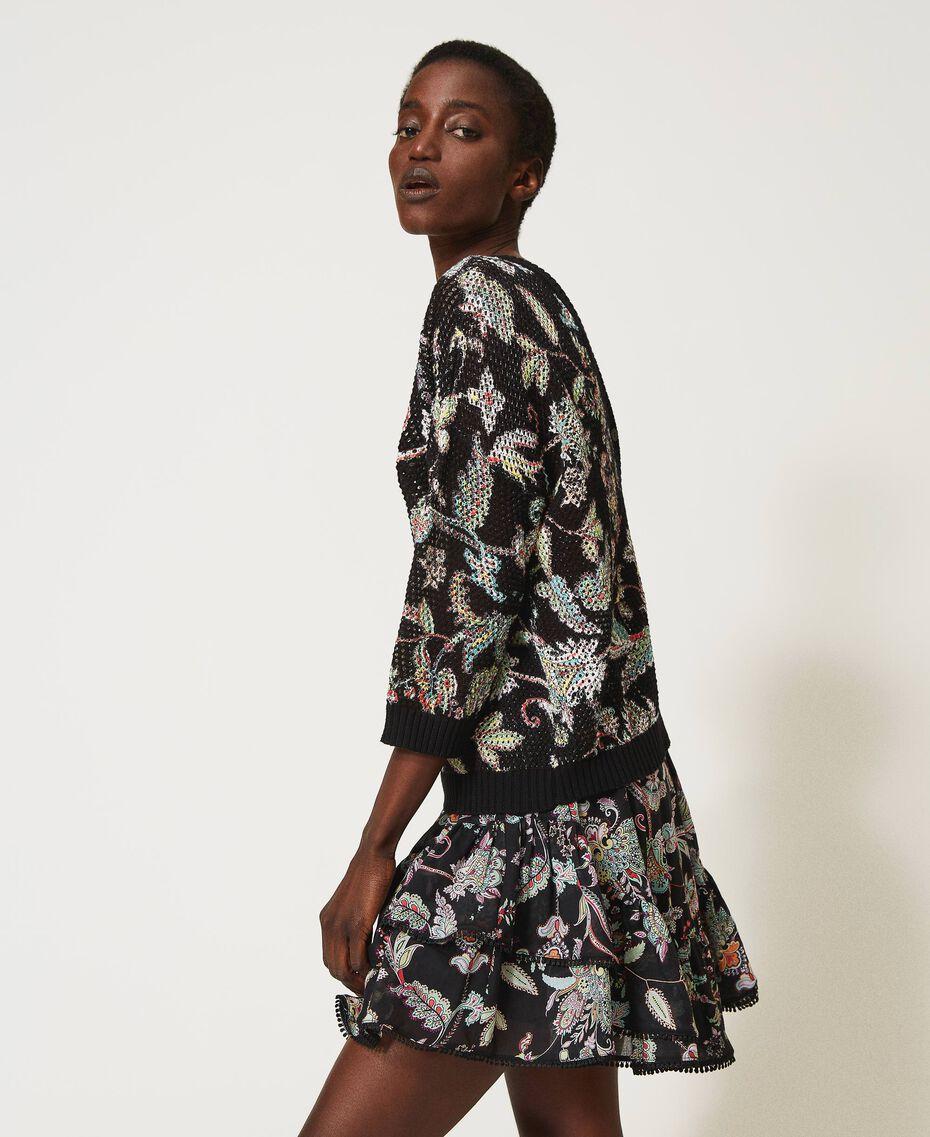 Floral print cardigan-jumper Meadow Flower Print Woman 211TT3141-03