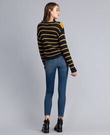 "Jumper with diamond pattern and stripes Multicolour Night Blue / ""Golden Yellow"" / Denim Blue Woman YA83L2-03"